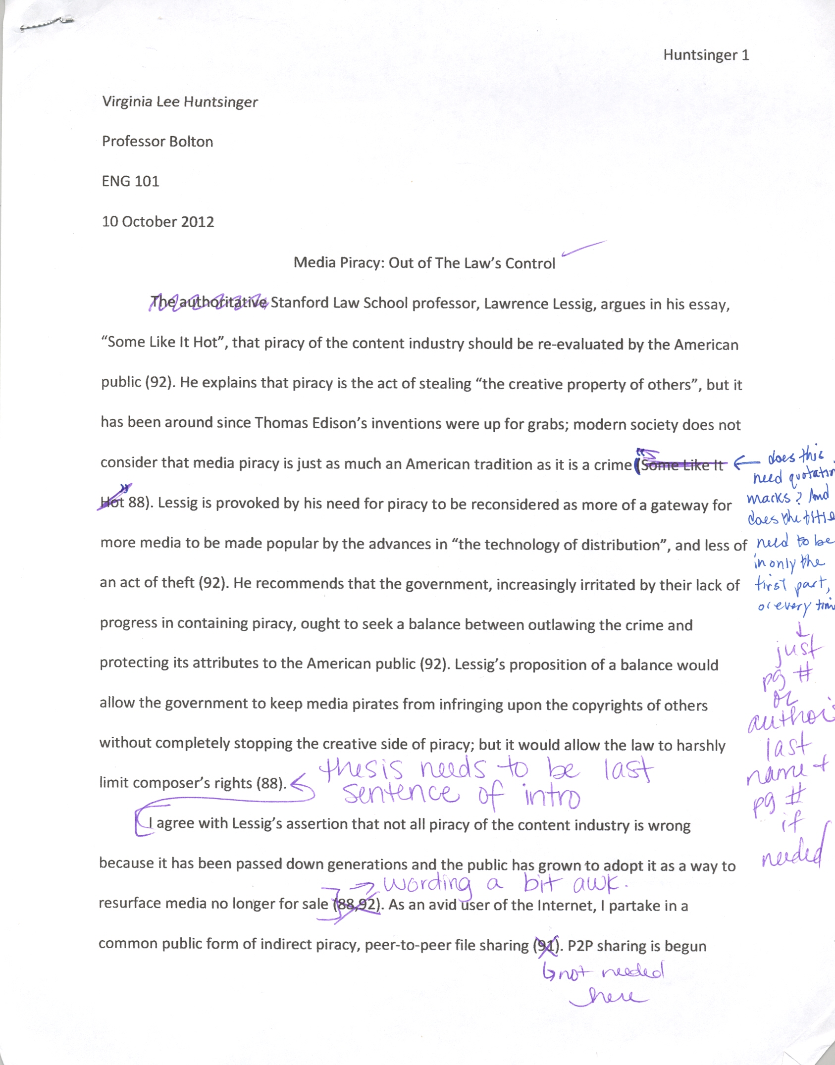 text analysis response english portfolio file